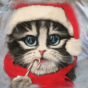 Christmas Kitty Tee by David Penfound